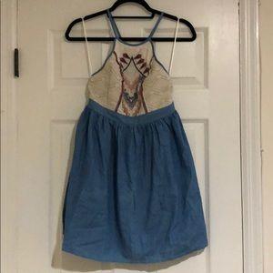 Chambray, Crocheted Top Sleeveless Mini Dress